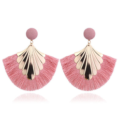 Pink Long Tassel Shield Statement Dangle Earrings - Bohemian Fringe Vintage Earring - The Gem Cutter
