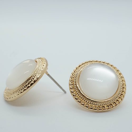 Opal Vintage Round Round Big Stud Earrings - The Gem Cutter