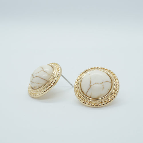 Marble Vintage Round Round Big Stud Earrings - The Gem Cutter