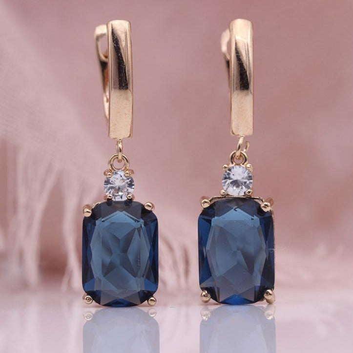 Sapphire Square Rose Gold Natural Zircon Dangle Earrings - The Gem Cutter