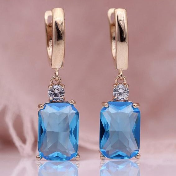Sea Blue Square Rose Gold Natural Zircon Dangle Earrings - The Gem Cutter