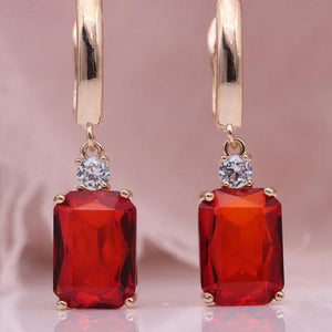 Red Square Rose Gold Natural Zircon Dangle Earrings - The Gem Cutter