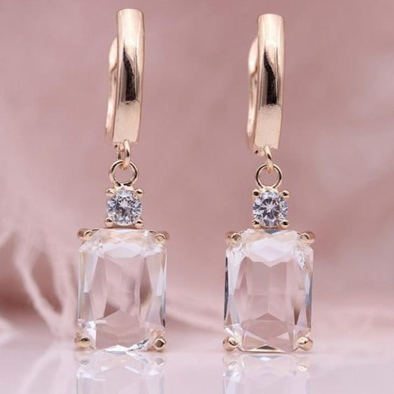 White Square Rose Gold Natural Zircon Dangle Earrings - The Gem Cutter