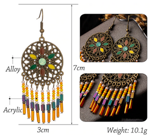 Colorful Bohemian Dangle Drop Earrings for Women - The Gem Cutter