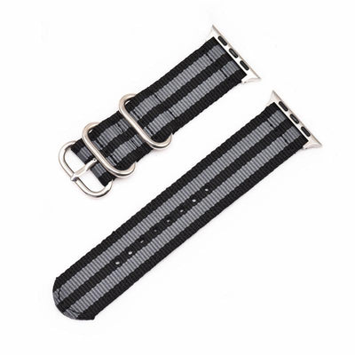 Rugged Stripe Nylon Apple Watch Bands | Silver Hardware