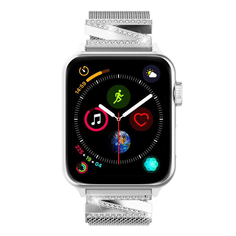 Milanese Loop Apple Watch Bands with Rhinestone for Women