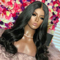 Dropshipping Glueless Black Natural Wavy 13*6 Lace Frontal Wigs Pre Plucked Hairline With Bleached Knots For Black Womens