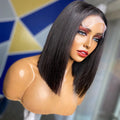 Hot Sale Real Brazilian Human Hair Wigs Straight Black Lace Front Bob Wigs With Free Shipping