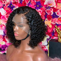 Cheap Natural Looking Black Jerry Curly Bob Virgin Human Hair Wigs Pre Plucked Hairline With Gluelss Cap For Ladies