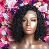 Side Parting 12 Inches Permant Curly Bob Brazilian Human Hair Gluelsss Lace Front Wigs With Bleached Knots For Sale