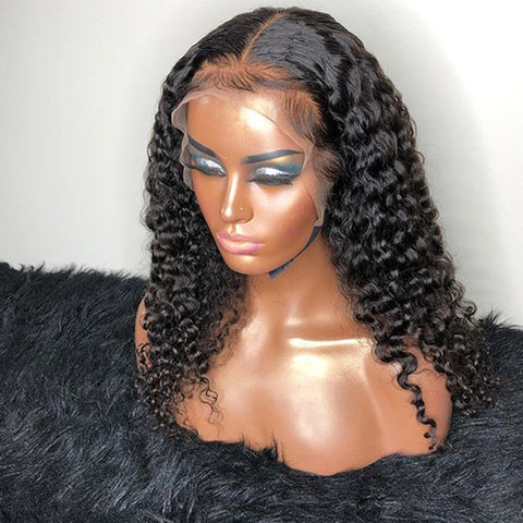 Shy Hair Design Brazilian 100% Human Hair Lace Front Wigs For Black Women Virgin Curly Lace Frontal Wig Glueless Swiss Lace