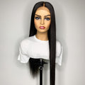 Long Black Silky Straight Indian Human Hair 5.0 Single Knots Lace Frontal Wigs Pre plucked Hairline With Baby Hairs