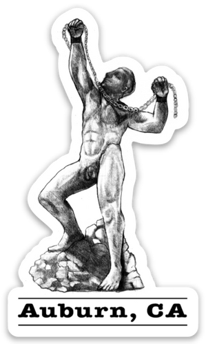 Man with Chains Statue Sticker