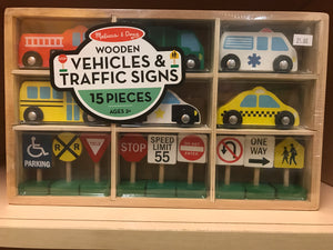 Melissa & Doug - Wooden Vehicles & Traffic Signs