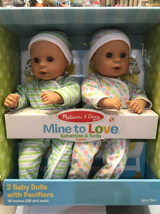 "Melissa & Doug - Mine to Love Sebastian & Sofia Twins 15"" dolls"