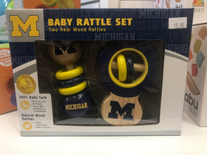 Masterpieces - U of M officially licensed Wooden Baby Rattle Set