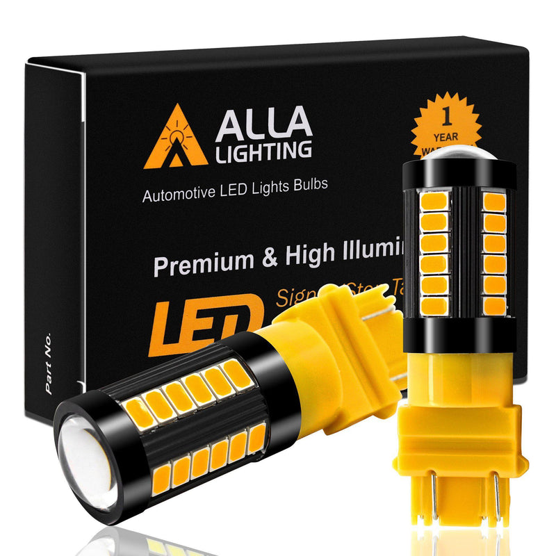 T25 3156 3157 LED Turn Signal/Brake Stop Tail/Reverse Lights Bulbs-[product-Amber Yellow-Alla Lighting