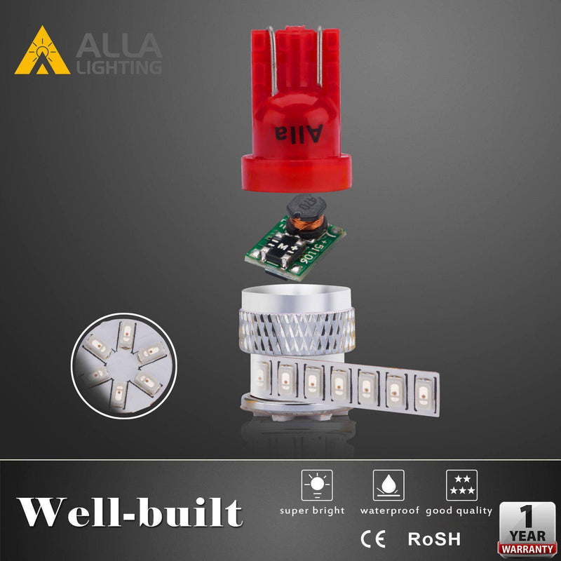 T10 194 168 LED Lights Bulbs Super Bright 12V 3014-SMD 2825-Alla Lighting