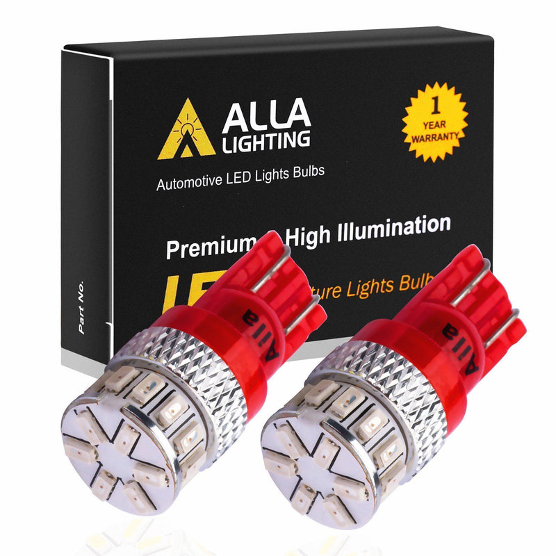 T10 194 168 LED Lights Bulbs Super Bright 12V 3014-SMD 2825-Pure Red-Alla Lighting