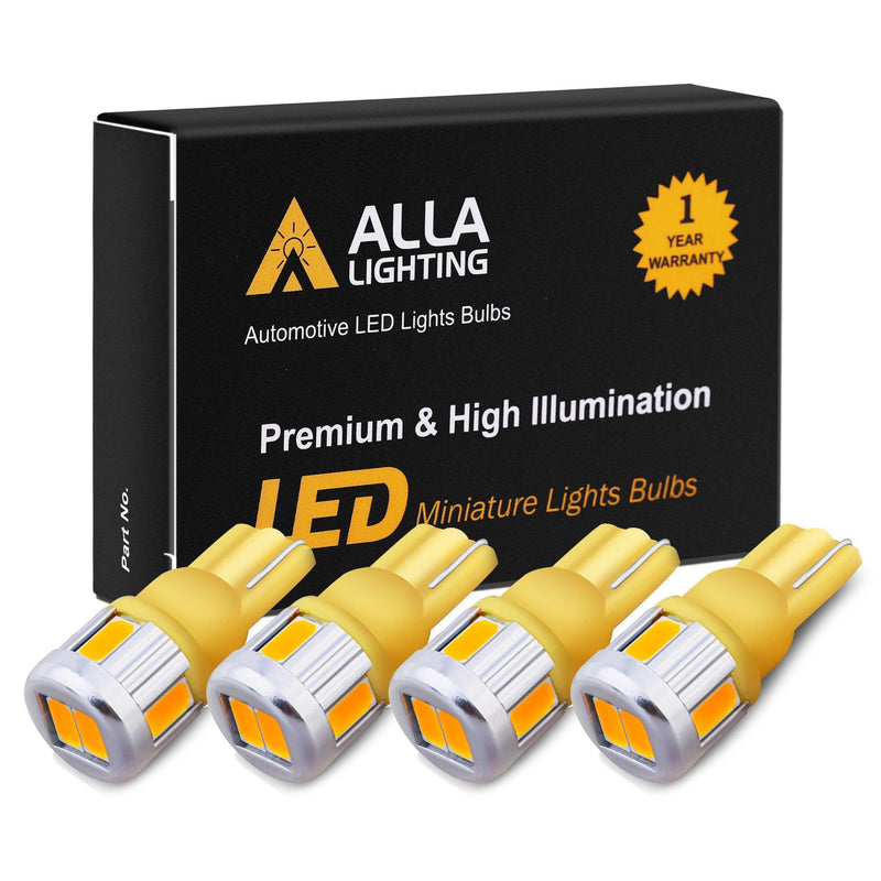 T10 194 168 LED Lights Bulbs 5630-SMD W5W 2825-Amber Yellow-Alla Lighting