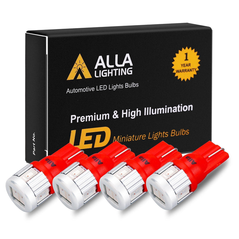 T10 194 168 LED Lights Bulbs 5630-SMD W5W 2825-Pure Red-Alla Lighting