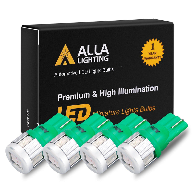 T10 194 168 LED Lights Bulbs 5630-SMD W5W 2825-Ultra Green-Alla Lighting