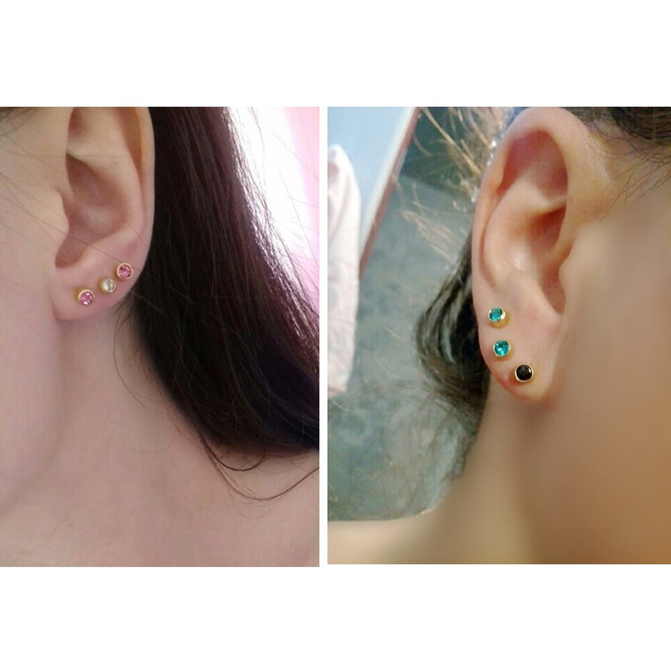 1 Pair Surgical Steel CZ Gem Birthstone Tragus Cartilage Earring Ear Stud Used In Piercing Gun Silver & Gold Body Jewelry