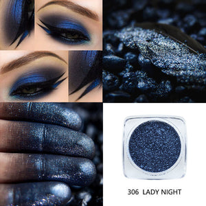PHOERA Metallic Diamond Single Color Shimmer Eyeshadow Makeup Palette Glitters Powder Eye Shadow Pigmented Smoky Make Up
