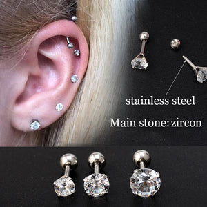 1 Pair Ear Piercing Stud Earrings for Girl Crystal Helix Piercing Cartilage Earrings Gun Ball Surgical Steel Body Jewelry Punk