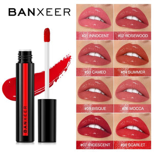 BANXEER  Lipgloss Shimmer No Matte 8 Colors Liquid Lipgloss Waterproof Long Lasting Lipstick Light Gel  Makeup Cosmetic
