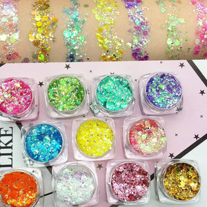 19 Color New Brand Eye Makeup Sequins Glitter Eyeshadow Powder Waterproof Long Lasting Eye Shadow White Blue Purple Golden