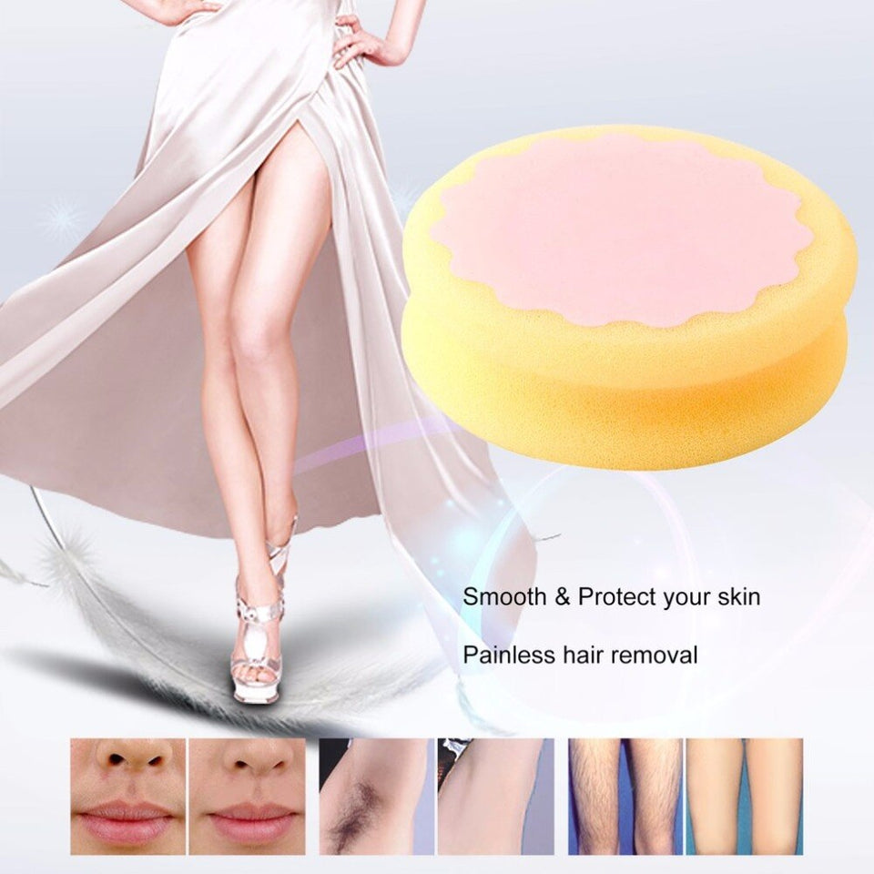 Painless Hair Removal Depilation Sponge Double sided Pad Round Shape Waxing Polishing Face Arm Leg Hair Removal Tool