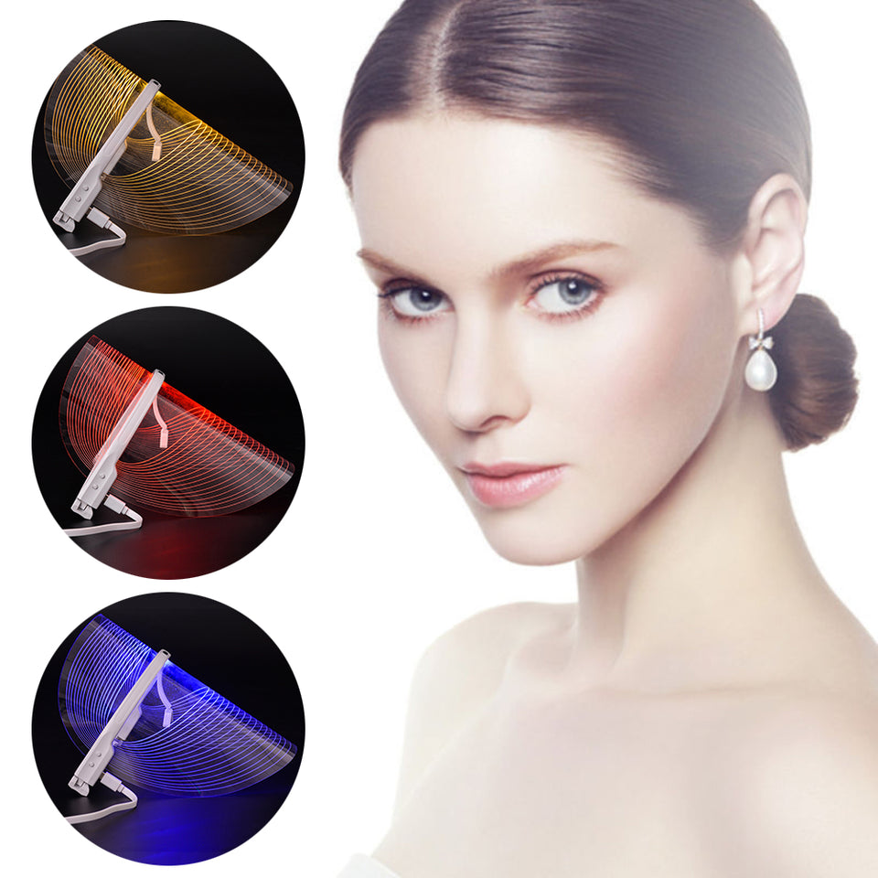 3 Color LED Light Therapy Face Mask Beauty Instrument Facial SPA Treatment Device Anti Acne Wrinkle Removal
