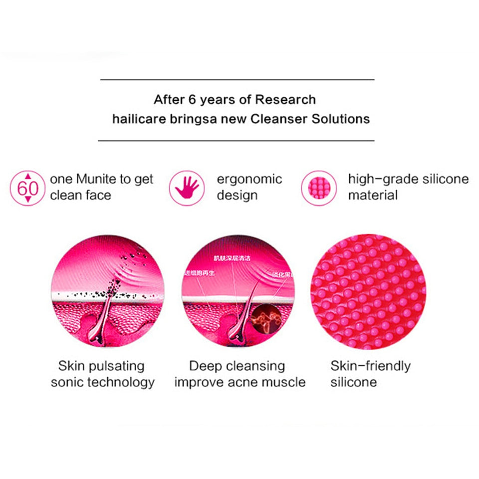 Facial Cleaning Brush Deep Cleansing Face Waterproof Silicone Sonic Vibration Cleaner Deep Pore Cleaning Skin Massage Face Care