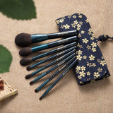 Dreamemo 8 Pcs/Set Starry Blue Makeup Brush Set With Cotton Bag Crystal Wood Handle Foundation/Highlighter /Eyeshadow Brush