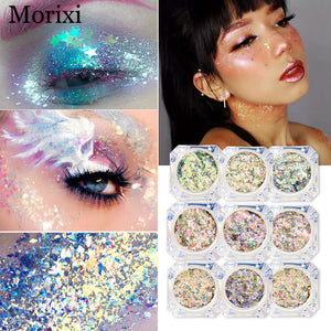 12 colors diamond glitter powder for eyeshadow makeup flash crystal flakes Chameleon shimmer sequins metallic eyeshadow