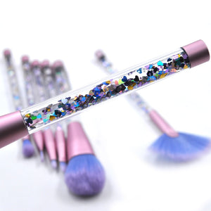 Kaizm 7pcs Diamond Makeup Brushes sets with Bag Crystal Makeup Brush kits Eyeshadow Contour Powder Brush Quicksand Glitter