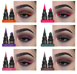 QIBEST 1 pc 2 in 1 Liquid Eyes Liner  Pencil Make Up Waterproof Black Double ended Triangle Seal Eyeliner Stamps