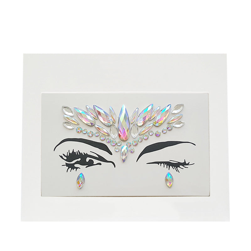 3D Rhinestone Glitter Crystal Stickers Women Face Eye Makeup Jewels Colorful Sticker Halloween Festival Party Make Up Art Tools