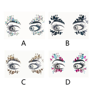 Temporary Rhinestone Glitter Tattoo Stickers Face Jewels Gems Festival Party Makeup Body Jewels Flash Fake Temporary Tattoos