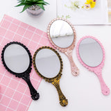 Vintage Handhold Makeup Mirror Pink Repousse Floral Oval Round Cosmetic Hand Held Mirror With Handle For Ladies Beauty Dresser