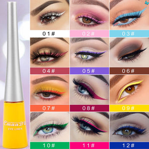 12 color matte Cat Eye Makeup Waterproof Neon Colorful Liquid Eyeliner Pen Make Up Comestics Long lasting Liner Pencil Makeup
