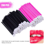 200pcs Disposable Cosmetic Makeup Lip Brush Lipstick Lip Glossy Wands Pen Cleaner Applicator Eyeshadow Lip Gloss Brushes Tools