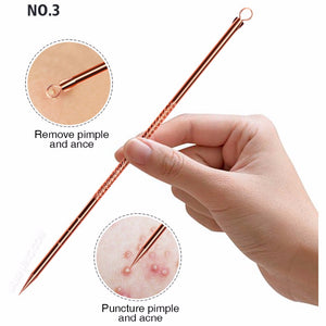 4pcs Anti Bacterial Double ended Acne Needle Blackhead Remover Tool Stainless Steel Pimple Needle Facial Cleaning Tool Skin Care