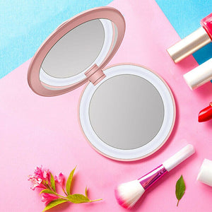 Mini Portable Round HD Makeup Mirror LED Light Bump Folding Beauty Cosmetic Tool Travel Mobile Power Bank USB Chargeable