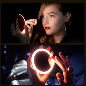 Portable LED Makeup Mini Circular Cosmetic Mirror 3 Dimmable Brightness Compact Travel Mirror Wireless USB Charging