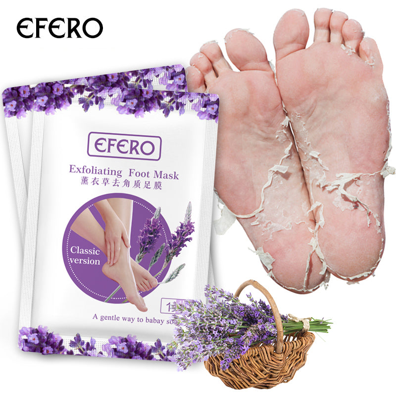 efero 7pair Lanvender Tender Exfoliating Foot Mask Skin Care Peeling Dead Skin Feet Mask Pedicure Socks Foot Cream for Heels