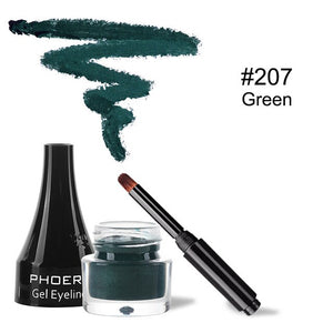PHOERA Makeup Black Waterproof Eyeliner Gel Cosmetic Gel Eye Liner Easy to Wear Makeup Long lasting Eye Liner Tool