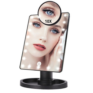 22 LED Lights Touch Screen Makeup Mirror 1X/10X Table Desktop Countertop Bright Adjustable USB Cable Or Batteries Use 16 Lights