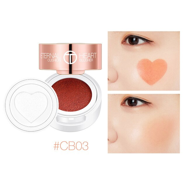 O.TWO.O Air Cushion Blusher Folding Heart Shape Shimmer Blush Rouge 4 Colors Easy To Wear Natural Face Contour Make Up